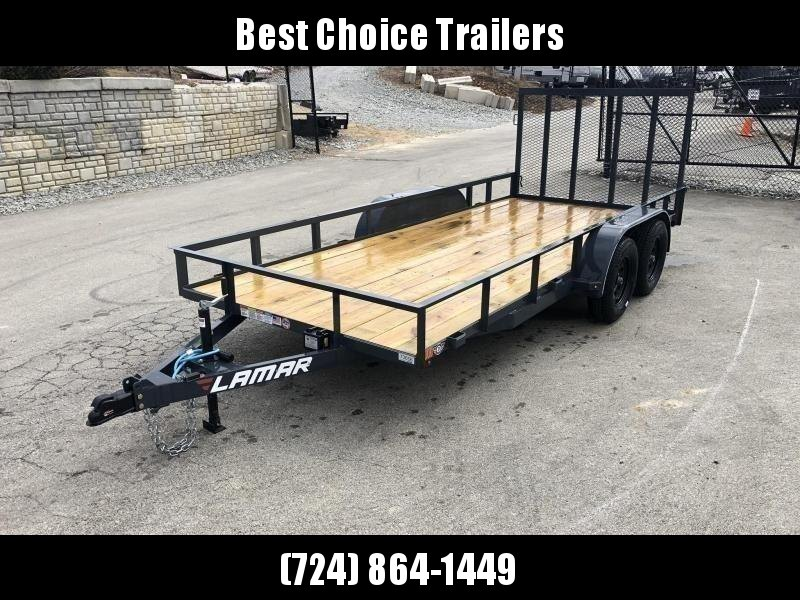 2019 Lamar 7x14' Utility Landscape Trailer 7000# GVW * CHARCOAL * HD GATE W/ SPRING ASSIST