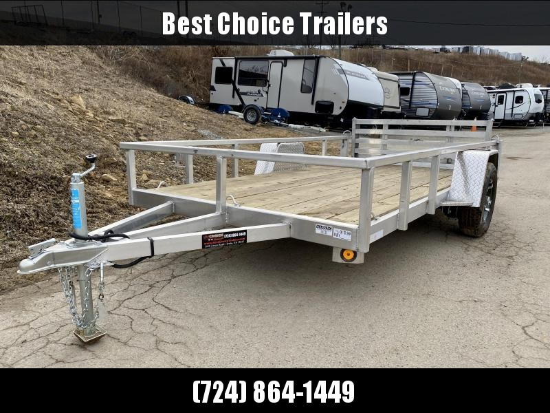USED 2019 QSA 6x12' Deluxe Aluminum Utility Trailer 2990# * DROP AXLES * HD TOPRAIL * BI-FOLD GATE * INTEGRATED FRAME * TUBE FRAME * SPARE TIRE MOUNT * ALUMINUM WHEELS *