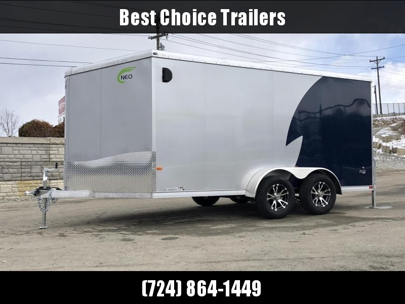 "2019 NEO 7x12' NAMR Aluminum Enclosed Motorcycle Trailer 7000# GVW * INDIGO/SILVER 2-TONE * VINYL WALLS * ALUMINUM WHEELS * +6"" HEIGHT * REAR STABILIZER JACKS * ROUND TOP * V-NOSE * ALUMINUM L-TRACK * RV DOOR * SCREWLESS * 1 PC ROOF * CLEARANCE"