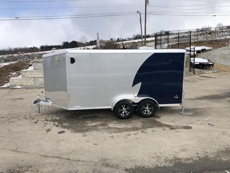 "2019 NEO 7x12' NAMR Aluminum Enclosed Motorcycle Trailer 7000# GVW * INDIGO/SILVER 2-TONE * VINYL WALLS * ALUMINUM WHEELS * +6"" HEIGHT * REAR STABILIZER JACKS * ROUND TOP * V-NOSE * ALUMINUM L-TRACK * RV DOOR * SCREWLESS * 1 PC ROOF * CLEARANCE"