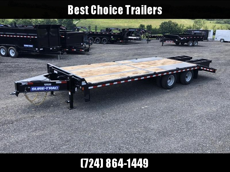 2020 Sure-Trac 102x20+5 Pintle Beavertail Deckover Trailer 22500# GVW * Pierced Frame OAK DECK & RAMPS PAVER TRAILER * HUTCH SUSPENSION * 12 D-RINGS * TOOLBOX * OAK RAMPS/TAIL/DECK * 2ND JACK