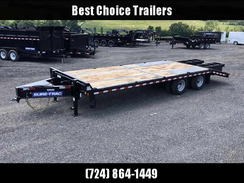 "2020 Sure-Trac 102x25' HD Beavertail Deckover Trailer 22500# GVW * PAVER SPECIAL * OAK BEAVERTAIL/DECK/RAMPS * DEXTER AXLES * FLIPOVER RAMPS * 12"" I-BEAM * PIERCED FRAME * RUBRAIL/STAKE POCKETS/PIPE SPOOLS/10 D-RINGS * CROSS TRAC BRACING"