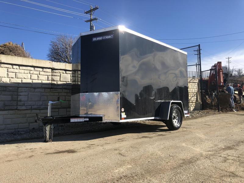 2020 Sure-Trac 7x12' Enclosed Cargo Trailer 2990# GVW * BLACK * SEMI-SCREWLESS * RV DOOR * TUBE STUDS * UNDERCOATED * V-NOSE