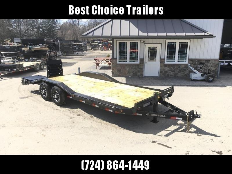 "2019 Ironbull 102""x22' Wood Deck Car Trailer 14000# GVW * FULL WIDTH RAMPS * 102"" DECK * DRIVE OVER FENDERS * BUGGY HAULER"