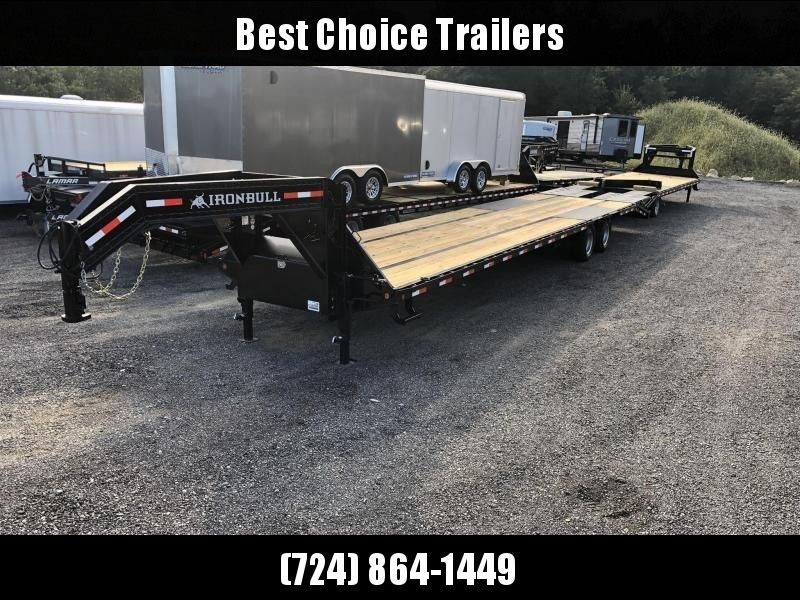 2019 Ironbull 102x35+5' Gooseneck Beavertail Flatbed Deckover 25990# GVW * HOT SHOT * 12K DEXTERS * AIR RIDE * ELECTRIC HYDRAULIC BRAKES * FULL WIDTH RAMPS * PIERCED FRAME * SPARE TIRE * UNDER FRAME BRIDGE