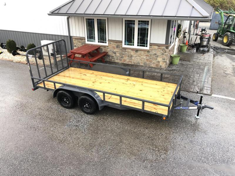 """2020 Load Trail 7x16' Utility Landscape Trailer 7000# GVW * SPARE MOUNT * TUBE TOP * 4"""" CHANNEL FULL WRAP TONGUE * TUBE BUMPER * ALL LED'S * TIE DOWNS * TUBE GATE C/M * CAST COUPLER * COLD WEATHER HARNESS * DEXTER'S * PRIMER * 2-3-2 WARRANTY"""