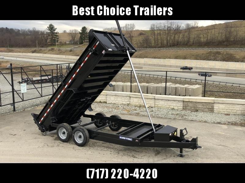 2020 Sure-Trac 7x16' LowPro HD Dump Trailer 16000# GVW * 8K AXLE UPGRADE * TELESCOPIC HOIST