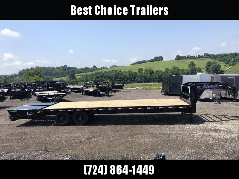 """2019 Load Trail 102x25' Gooseneck Beavertail Deckover Trailer 14000# GVW * FULL WIDTH RAMPS (STAND UP OR FLIPOVER) * 12"""" I-BEAM FRAME * FRONT TOOLBOX * DUAL JACKS * PRIMER * DEXTER AXLES * 16"""" O.C. C/M * RUBRAIL/STAKE POCKETS/PIPE SPOOLS * CLEARANCE"""