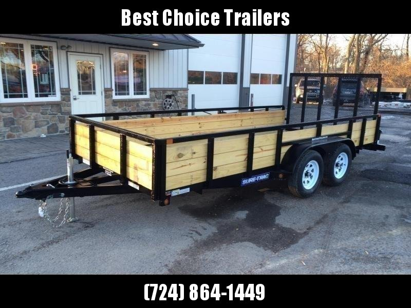 """2020 Sure-Trac 7x16' High Side Utility Landscape Trailer 7000# GVW * 24"""" 3-BOARD HIGH SIDE * 2"""" TUBE TOP RAIL * 2X2"""" TUBE GATE C/M + SPRING ASSIST + FOLD FLAT * TOOLESS GATE REMOVAL * SPARE MOUNT * PROTECTED WIRING * SET BACK JACK * TRIPLE TUBE TONGUE * D"""
