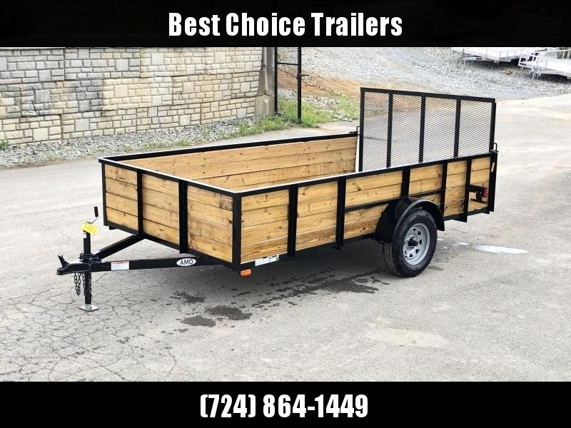 "2020 AMO 78""x12' Wood HIGH SIDE Angle Iron Utility Landscape Trailer 2990# GVW * 4-BOARD HIGH SIDE"