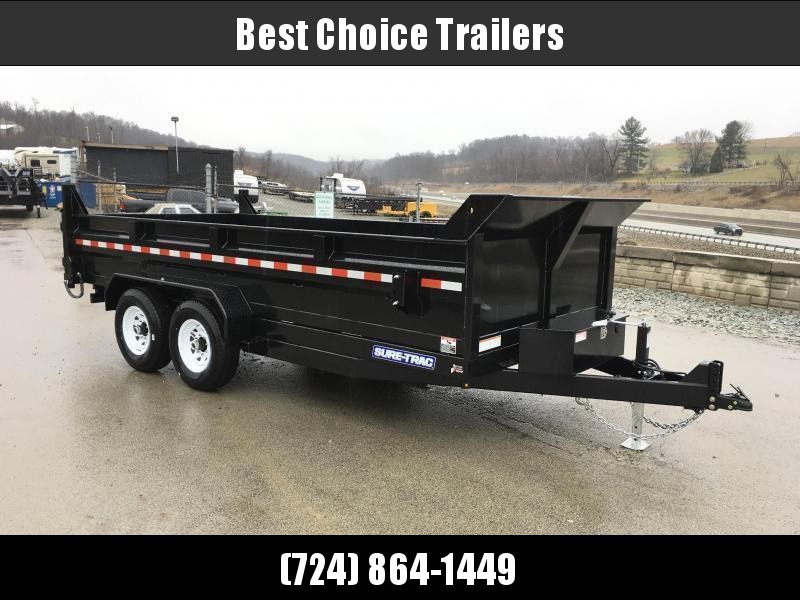 "2020 Sure-Trac 7x16' Dump Trailer 14000# GVW * OVERSIZE 4X42"" DUAL PISTON * FRONT/REAR BULKHEAD * INTEGRATED KEYWAY * 2' SIDES * UNDERBODY TOOL TRAY * ADJUSTABLE COUPLER * 110V CHARGER * UNDERMOUNT RAMPS * COMBO GATE * 7K JACK"