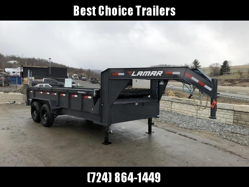 "2020 Lamar 7x16' Gooseneck Dump Trailer 14000# GVW * CHARCOAL * 7GA FLOOR * DUAL JACKS * TARP KIT * 14-PLY RUBBER * OIL BATH * REAR JACKSTANDS * 12"" O.C."