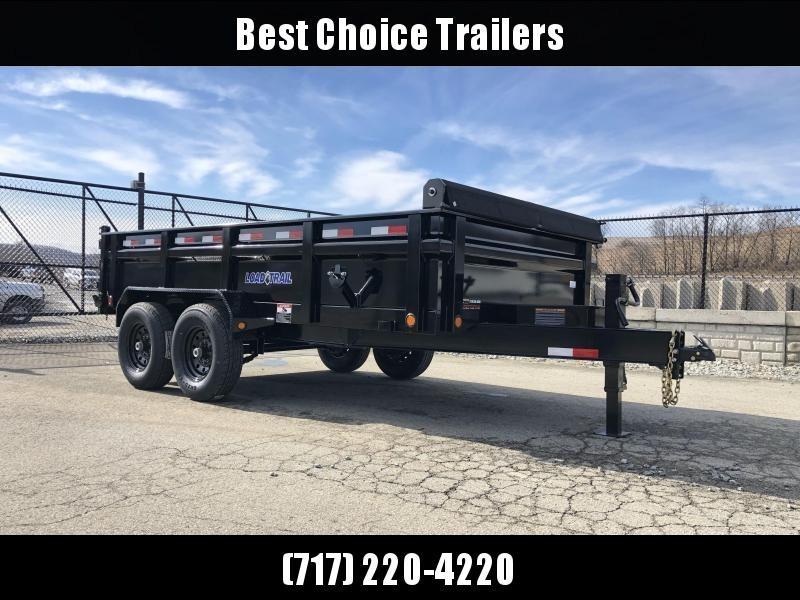 """2020 Load Trail 7x16' Dump Trailer 14000# GVW * DT8316072 * 7 GAUGE FLOOR * 8"""" I-BEAM FRAME * 3-WAY GATE * TARP KIT * SCISSOR HOIST * 10GA 2PC SIDES & FLOOR * 6"""" TUBE BED FRAME * 110V CHARGER * DEXTER'S"""