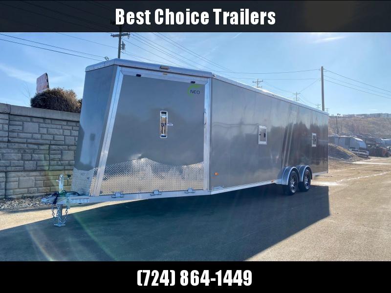 "2020 Neo 7.5x29' NASX Aluminum Enclosed All-Sport Trailer 7000# GVW * 7' HEIGHT UTV PKG * PEWTER/CHARCOAL W/ BRADLEY SLASH * DEXTER TORSION * 7.5' WIDTH * ALUMINUM WALLS W/ SKUFF * SPORT TIE DOWN * 16"" O.C. FLOOR/WALLS * PRO STAB JACKS * UPPER CABINET * A"