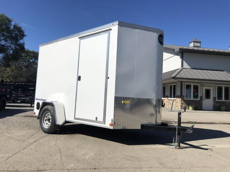 "2019 Wells Cargo 6x10' Road Force Enclosed Cargo Trailer 2990# GVW * WHITE EXTERIOR * RAMP DOOR * SCREWLESS .030 EXTERIOR * 1PC ALUM ROOF * 6'6"" HEIGHT * TUBE STUDS * 16"" O.C WALLS * ARMOR GUARD TONGUE"