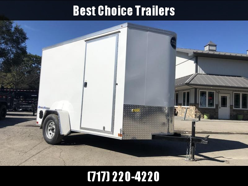 """2019 Wells Cargo 6x10' Road Force Enclosed Cargo Trailer 2990# GVW * WHITE EXTERIOR * RAMP DOOR * V-NOSE * SCREWLESS .030 EXTERIOR * 6'6"""" HEIGHT * TUBE STUDS * 1 PC ROOF * 16"""" O.C. C/M * ARMOR GUARD * RV DOOR * BULLET LED'S * CLEARANCE"""