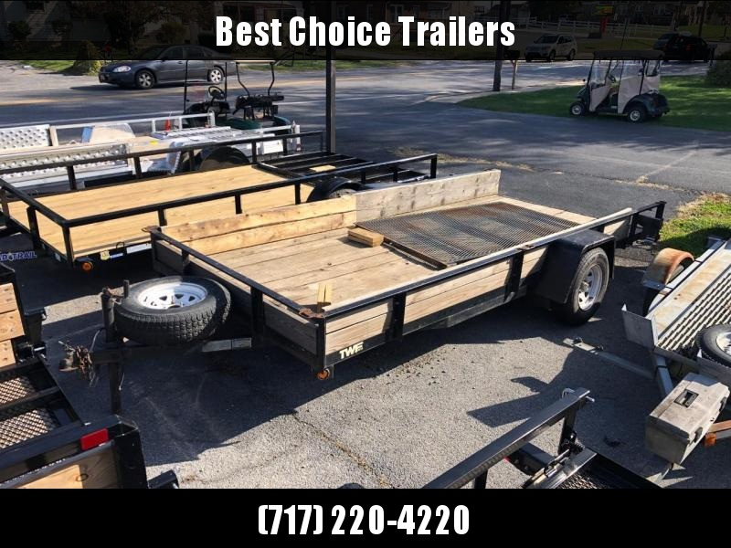 USED 2010 TWF 7x14' Utility Landscape Trailer 2990# GVW * SPARE * WOOD SIDES