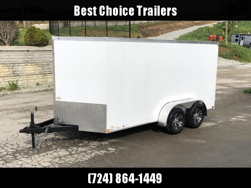 2019 Wells Cargo 7x14' Road Force Enclosed Cargo Trailer 7000# GVW * ALUMINUM WHEELS * WHITE * RAMP DOOR * V-NOSE * .030 ALUM EXTERIOR * 1 PC ALUM ROOF * ARMOR GUARD