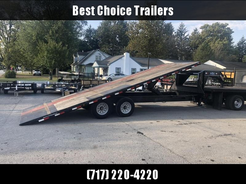 USED 2015 Load Trail Gooseneck Deckover Tilt Trailer 14000# GVW * SCISSOR HOIST * I-BEAM BED AND BEDFRAME * SPARE TIRE * WINCH PLATE * DUAL TOOLBOXES