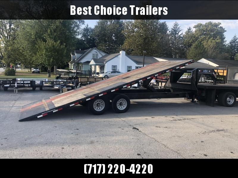 USED 2015 Load Trail Gooseneck Deckover Tilt Trailer 14000# GVW * SCISSOR HOIST * I-BEAM BED AND BEDFRAME * SPARE TIRE * WINCH PLATE * DUAL TOOLBOXES