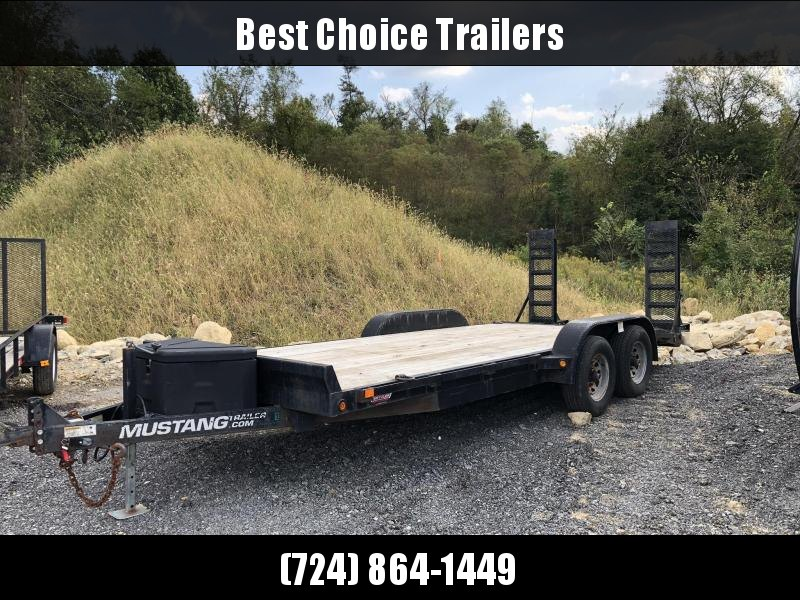 USED 2012 Mustang 7x18' Equipment Trailer 9990# GVW * STAND UP RAMPS W/ MESH * CLEATED BEAVERTAIL * TOOLBOX