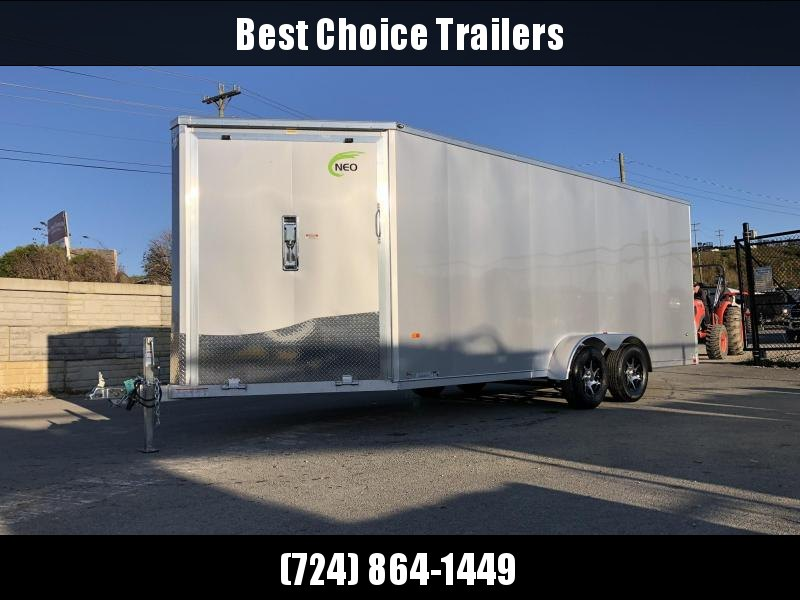 "2020 Neo 7x22' NASF Aluminum Enclosed All-Sport Trailer 7000# GVW * 7' HEIGHT UTV PKG * SILVER EXTERIOR * FRONT/REAR NXP RAMP * VINYL WALLS * SPORT TIE DOWN SYSTEM * 16"" O.C. FLOOR * PRO STAB JACKS * UPPER CABINET * ALUMINUM WHEELS * SCREWLESS * 1 PC ROOF"