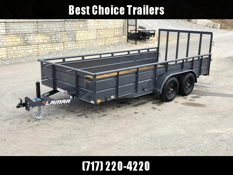 2019 Lamar 7x16' Utility Trailer 7000# GVW * 2' STEEL HIGH SIDES *  CHARCOAL * PIPE TOP * ADJUSTABLE COUPLER * DROP LEG JACK * TIE DOWN RAIL * TUBE GATE