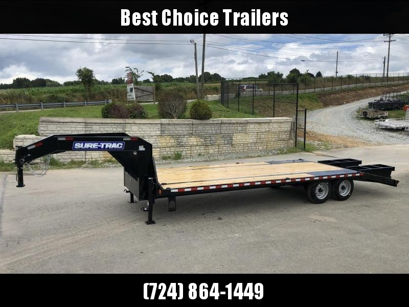 "2020 Sure-Trac 102x25' Gooseneck Beavertail Deckover Trailer 17600# GVW * 8000# AXLES * 17.5"" 16-PLY TIRES * 3 3/8"" BRAKES * DUAL JACKS * FULL TOOLBOX * FLIPOVER RAMPS + SPRING ASSIST * 12"" I-BEAM * PIERCED FRAME * (10) 1"" D-RINGS * CROSS TRAC BRACING"