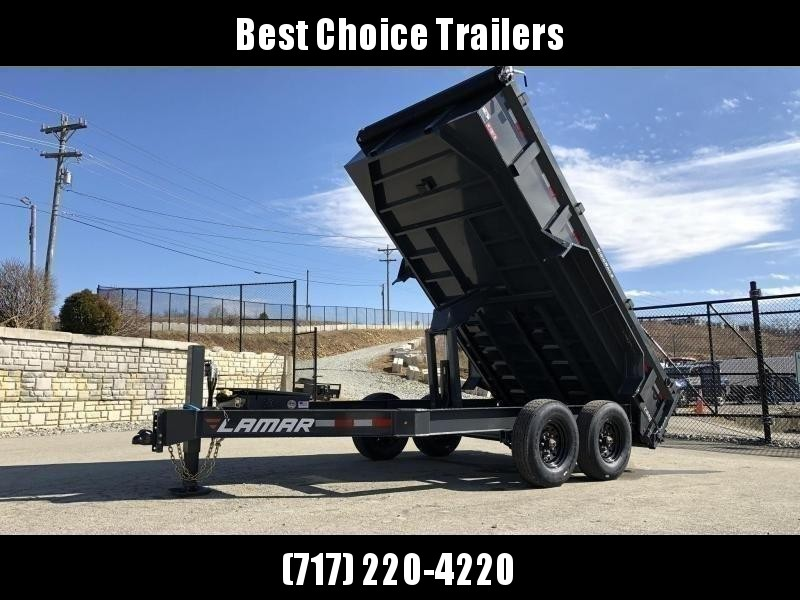 "2020 Lamar 7x14' Dump Trailer 14000# GVW * HYDRAULIC JACK * OIL BATH HUBS * REAR JACKSTANDS * 14-PLY TIRES * 12"" O.C. C/M * 7GA FLOOR  * TARP KIT * SCISSOR HOIST * 12K JACK * CHARCOAL * RIGID RAILS * HD COUPLER * NESTLED I-BEAM FRAME 28"" H * 3-WAY GATE"