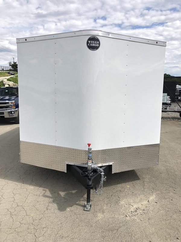 2019 Wells Cargo 8.5x16' Fastrac DELUXE Enclosed Car Trailer 7000# GVW *  WHITE EXTERIOR * RAMP DOOR