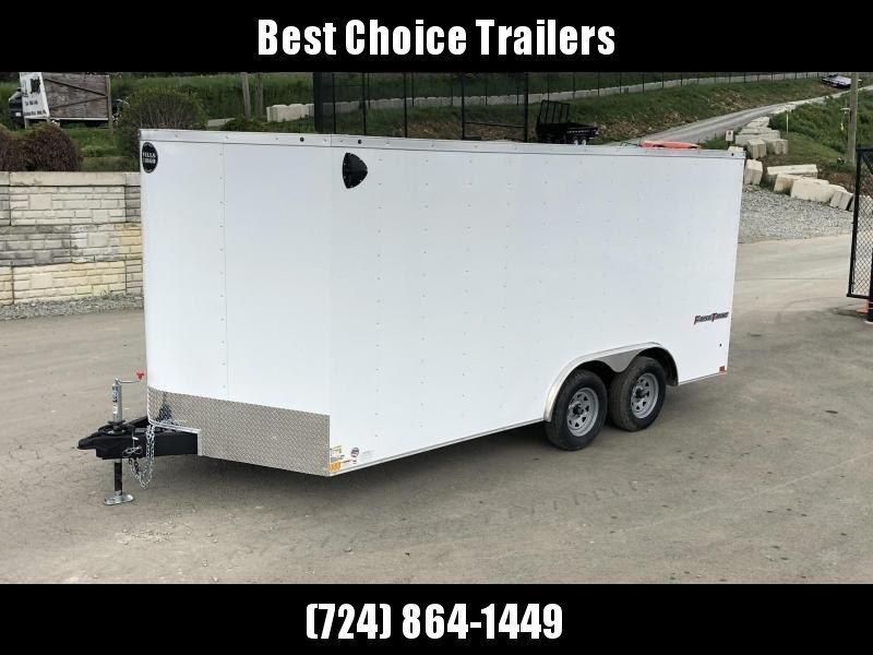 2019 Wells Cargo 8.5x16' Fastrac DELUXE Enclosed Car Trailer 7000# GVW *  WHITE EXTERIOR * RAMP DOOR