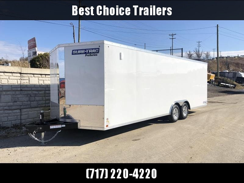 """2020 Sure-Trac 8.5x20' Pro Series Enclosed Car Hauler Trailer 9900# GVW * WHITE EXTERIOR * V-NOSE * RAMP * 2 HIGH OUTPUT DOME LIGHTS * 5200# AXLES * .030 SCREWLESS EXTERIOR * ALUMINUM WHEELS * 1 PC ROOF * 6"""" FRAME * 16"""" O.C. C/M * PLYWOOD * TUBE STUDS * 4"""