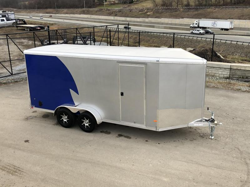 "2020 NEO Trailers 7x16' NAMR Aluminum Enclosed Motorcycle Trailer * NEW BLUE AND SILVER * VINYL WALLS * ALUMINUM WHEELS * +6"" HEIGHT"