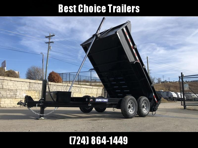 2020 Sure-Trac 7x12' Dump Trailer 12000# GVW * 7 GA FLOOR * HYDRAULIC JACK * TELESCOPIC HOIST * FRONT/REAR BULKHEAD * INTEGRATED KEYWAY * 2' SIDES * UNDERBODY TOOL TRAY * ADJUSTABLE COUPLER * 110V CHARGER * UNDERMOUNT RAMPS * COMBO GATE