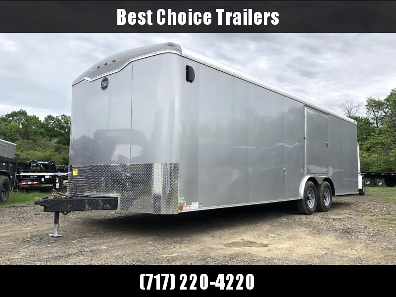 2019 Wells Cargo 8.5x24' RoadForce Enclosed Car Trailer 9990# GVW * SILVER EXTERIOR * RAMP DOOR * TORSION * ESCAPE HATCH * ROUND TOP * SCREWLESS * CLEARANCE