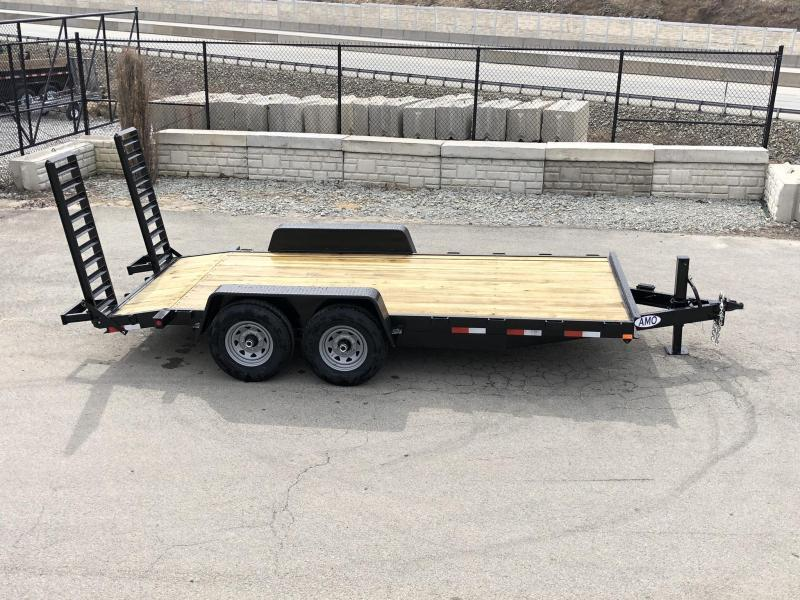 "2020 AMO 7x18' Equipment Trailer 12000# GVW * ALL LED LIGHTS * STAND UP RAMPS * BEAVERTAIL * STACKED 6"" CHANNEL TONGUE/FRAME * 12K DROP LEG JACK * REMOVABLE FENDERS"