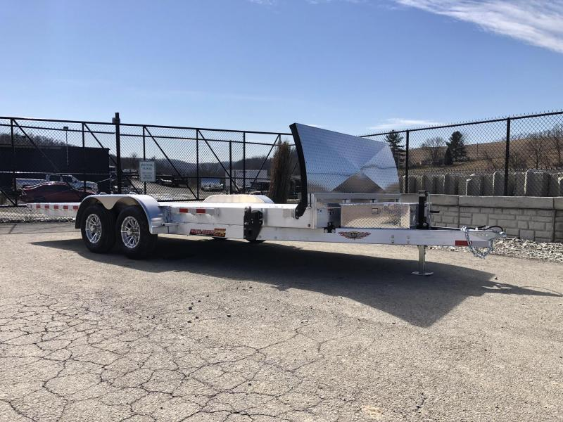 2019 H&H 7x20' Aluminum Power Tilt Car Hauler Trailer 9990# GVW * DELUXE * ROCK GUARD * DUAL TOOLBOXES * EXTRUDED FLOOR *  4 SWIVEL D-RINGS * 4 EXTRA STAKE POCKETS * WIRELESS REMOTE