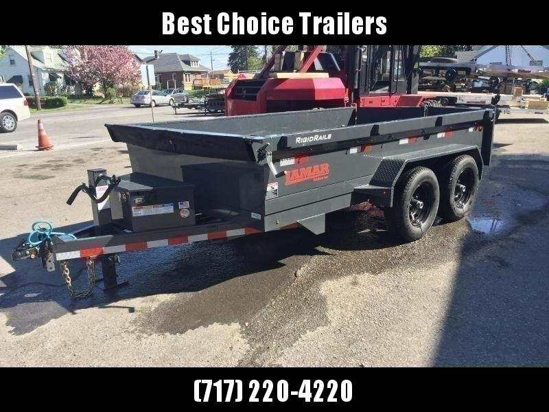 2019 Lamar DM 77x10' 9990# Low Profile Dump Trailer * DELUXE TARP KIT * ADJUSTABLE COUPLER * CHARCOAL  * SPARE MT