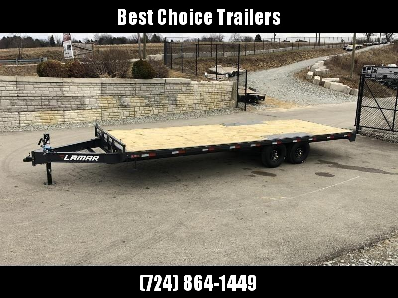 """2020 Lamar 102x24' Flatbed Deckover Trailer 14000# GVW * 8' SLIDE IN RAMPS * CHARCOAL * TOOL TRAY * HD CAST COUPLER * I-BEAM FRAME * 16"""" O.C. C/M * RUBRAIL/STAKE POCKETS/PIPE SPOOLS * CHANNEL SIDE RAIL * 12K JACK"""