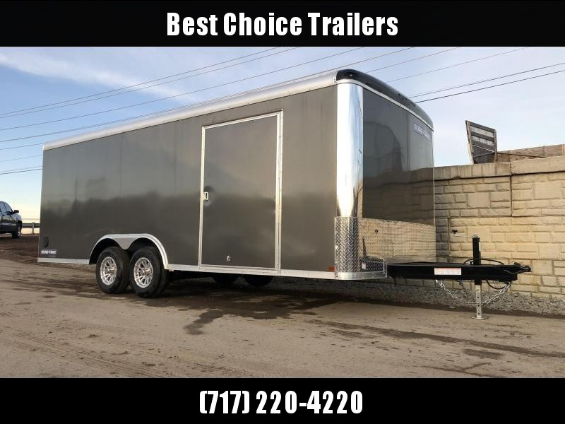 "2020 Sure-Trac 8.5x20' Pro Series Enclosed Car Hauler Trailer 9900# GVW * CHARCOAL EXTERIOR * .030 SCREWLESS EXTERIOR * ROUND TOP * ALUMINUM WHEELS * 1 PC ROOF * 7K DROP JACK * 6"" TUBE FRAME * 48"" RV DOOR * PLYWOOD * 5200# AXLES  * TUBE STUDS"