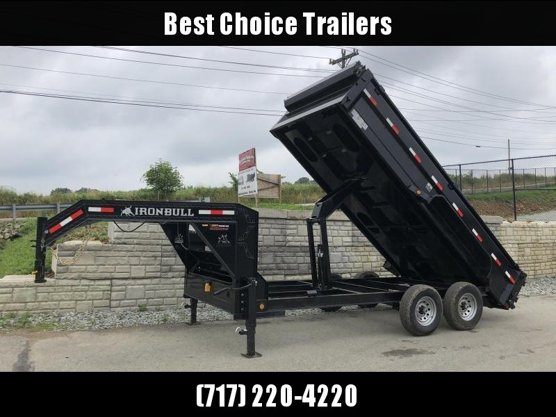 "2019 Ironbull 7x16' Gooseneck Dump Trailer 14000# GVW * TARP KIT * 5x20 SCISSOR HOIST * STACKED I-BEAM FRAME * DUAL 12K JACKS * FULL WIDTH TOOLBOX * 6"" TUBE BEDFRAME * 10GA WALLS W/ KEYWAY * COMBO GATE * UNDERBODY BED RUNNERS * CLEARANCE"