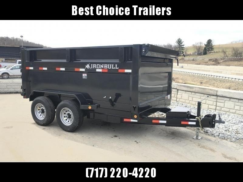 "2019 Ironbull 7x12' High Side Dump Trailer 14000# GVW * 4' SIDES * TARP KIT * SCISSOR HOIST * STACKED I-BEAM FRAME * 6"" TUBE BEDFRAME * 10GA BED & WALLS W/ KEYWAY * COMBO GATE * UNDERBODY BED RUNNERS * DEXTER AXLES * CLEARANCE"