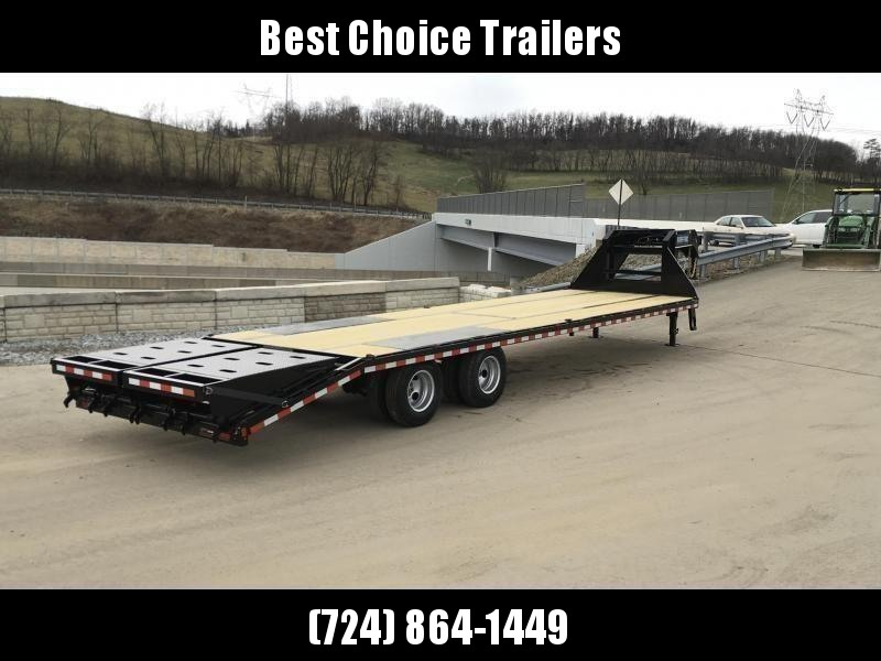 "2020 Sure-Trac 102x30' Gooseneck Beavertail Deckover Trailer 22500# GVW * FULL WIDTH RAMPS (STAND UP OR FLIPOVER) * DEXTER AXLES * 12"" I-BEAM * PIERCED FRAME * RUBRAIL/STAKE POCKETS/PIPE SPOOLS/10 D-RINGS * CROSS TRAC BRACING * HD BEAVERTAIL"