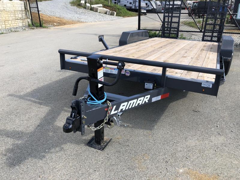 2019 Lamar 7x18' CC10 Equipment Trailer 9990# GVW - CHARCOAL * DELUXE RAMPS * 12K DROPLEG JACK
