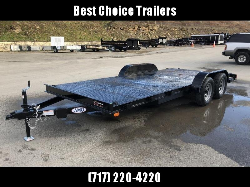 2020 AMO 7x16' Steel Deck Car Trailer 7000# GVW * LED TAIL LIGHTS * STACKED CHANNEL TONGUE/FRAME * BEAVERTAIL * REMOVABLE FENDERS * 2-AXLE BRAKES * STEEL FLOOR