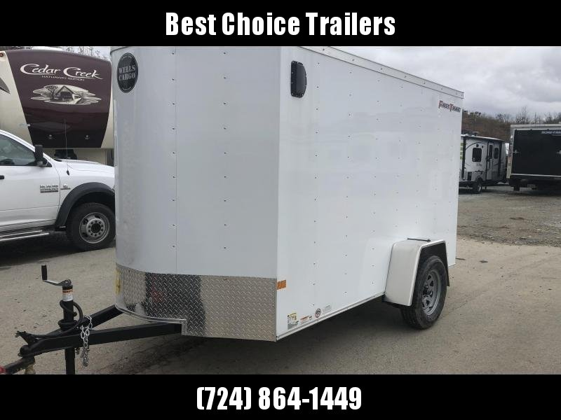"2020 Wells Cargo 6x12' Fastrac Enclosed Cargo Trailer 2990# GVW * WHITE EXTERIOR * RAMP DOOR * 1PC ROOF  * 16"" O.C."