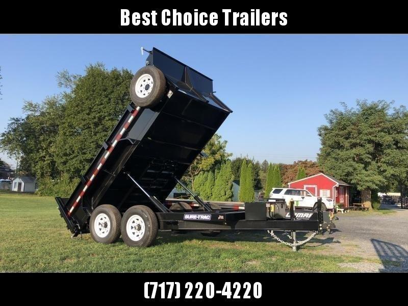 2020 Sure-Trac 7x12' Dump Trailer 12000# GVW * TARP KIT * DUAL PISTON * FRONT/REAR BULKHEAD * INTEGRATED KEYWAY * 2' SIDES * UNDERBODY TOOL TRAY * ADJUSTABLE COUPLER * 110V CHARGER * UNDERMOUNT RAMPS * COMBO GATE * 7K DROP LEG JACK