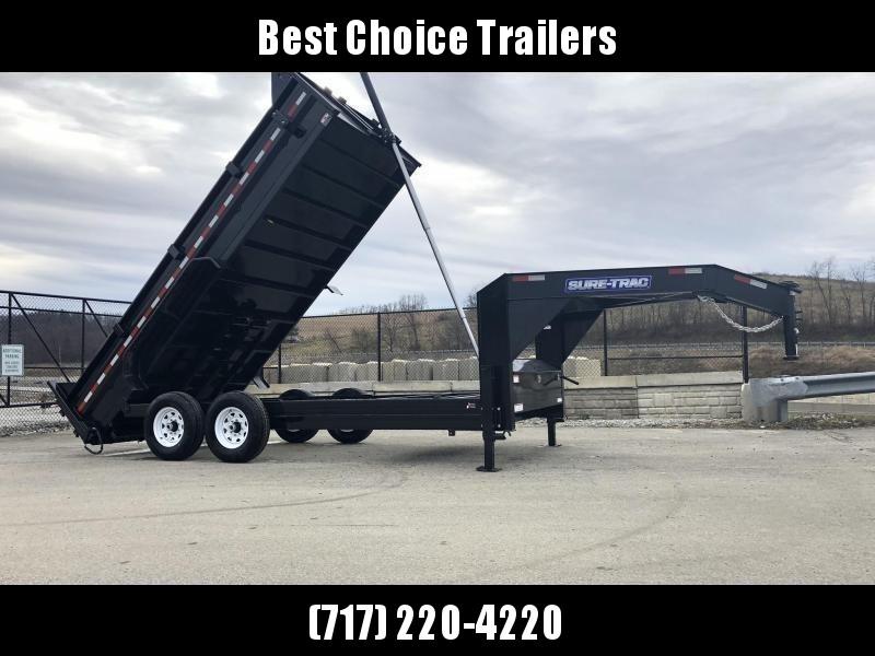 2020 Sure-Trac 7x14' 16000# Low Profile HD GOOSENECK Dump Trailer * TELESCOPIC HOIST * 8000# AXLE UPGRADE