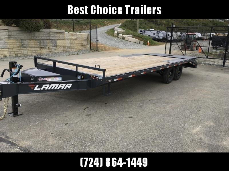"2020 Lamar F8 102x24' Beavertail Deckover Trailer 14000# GVW * FULL WIDTH RAMPS * CHARCOAL * 16"" O.C. FLOOR * CHAIN TRAY * CLEARANCE"