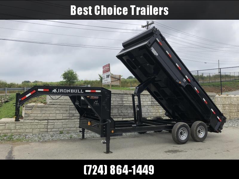 2018 Ironbull 7x16' Gooseneck Dump Trailer 14000# GVW * TARP KIT * SCISSOR * CLEARANCE - FREE ALUMINUM WHEELS